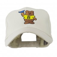 Bear with Blue Flag Mascot Embroidery Cap - Stone