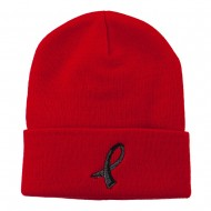 Black Ribbon Skin Cancer Embroidered Long Beanie - Red