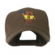 Bear with Blue Flag Mascot Embroidery Cap - Brown