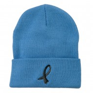 Black Ribbon Skin Cancer Embroidered Long Beanie - Sky Blue