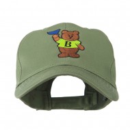 Bear with Blue Flag Mascot Embroidery Cap - Olive