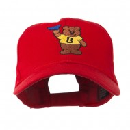 Bear with Blue Flag Mascot Embroidery Cap - Red