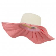 Two Tone Bow Trim Sun Hat - Coral