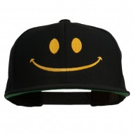 Big Smiley Face Embroidered Flat Bill Cap - Black