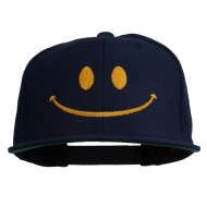 Big Smiley Face Embroidered Flat Bill Cap - Navy