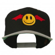Bat Smiley Face Embroidered Snapback Cap - Black Silver