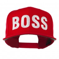 Flat Bill Hip Hop Casual Boss Embroidered Cap - Red