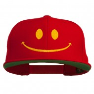 Big Smiley Face Embroidered Flat Bill Cap - Red