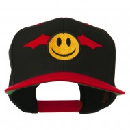 Bat Smiley Face Embroidered Snapback Cap - Black Red