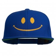 Big Smiley Face Embroidered Flat Bill Cap - Royal