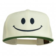 Big Smiley Face Embroidered Flat Bill Cap - Natural