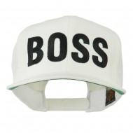 Flat Bill Hip Hop Casual Boss Embroidered Cap - White