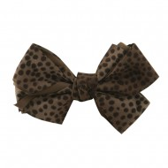 Women's Animal Print Bow Tie Pin Clip - Brown