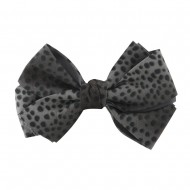 Women's Animal Print Bow Tie Pin Clip - Grey