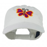 Butterfly Embroidered Cap - White