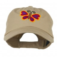 Butterfly Embroidered Cap - Khaki