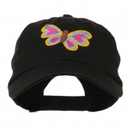 Butterfly Embroidered Cap - Black