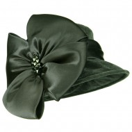 Big Bow Velvet Hat - Grey