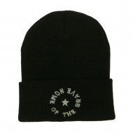Home of the Brave Embroidered Long Beanie - Black