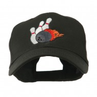 Bowling Ball and Pins Embroidered Cap - Black