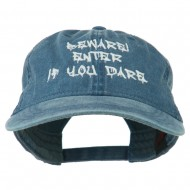 Halloween Beware Enter If You Dare Embroidered Washed Dyed Cap - Navy