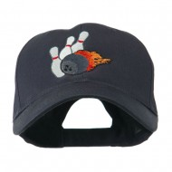Bowling Ball and Pins Embroidered Cap - Navy