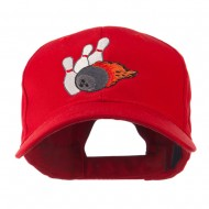 Bowling Ball and Pins Embroidered Cap - Red