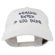 Halloween Beware Enter If You Dare Embroidered Washed Dyed Cap - White
