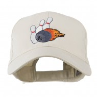 Bowling Ball and Pins Embroidered Cap - Stone