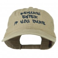 Halloween Beware Enter If You Dare Embroidered Washed Dyed Cap - Khaki