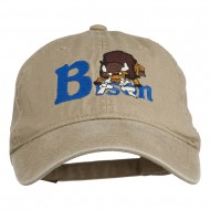 Bison Mascots Embroidered Washed Cap - Khaki