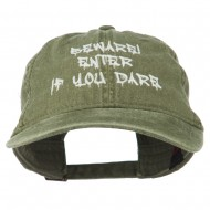 Halloween Beware Enter If You Dare Embroidered Washed Dyed Cap - Olive Green
