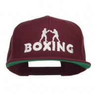 Boxing Embroidered Snapback Cap - Maroon