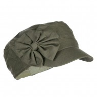 Women's Bow Accent Military Cap - Olive