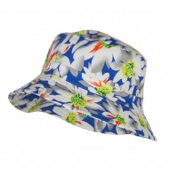 Reversible Daisy Print Bucket Hat - Grey