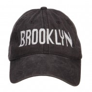 Brooklyn Embroidered Washed Cap - Black