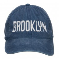 Brooklyn Embroidered Washed Cap - Navy