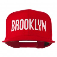 Brooklyn Embroidered Wool Snapback Cap - Red
