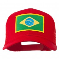 Brazil Flag Patched Mesh Cap - Red