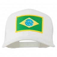 Brazil Flag Patched Mesh Cap - White