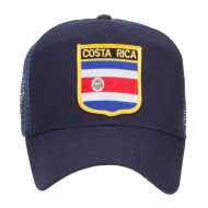 Costa Rica Flag Patched Mesh Cap - Navy