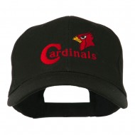 Cardinals with Bird Head Embroidered Cap - Black
