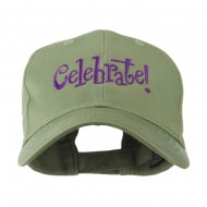 Celebrate Wording Embroidered Cap - Olive