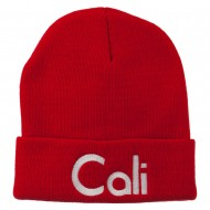 Cali Embroidered Long Beanie - Red