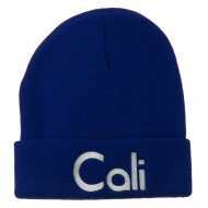 Cali Embroidered Long Beanie - Royal