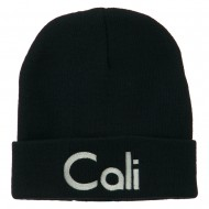 Cali Embroidered Long Beanie - Navy