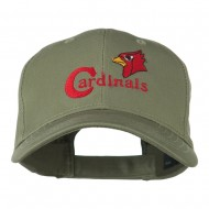 Cardinals with Bird Head Embroidered Cap - Olive