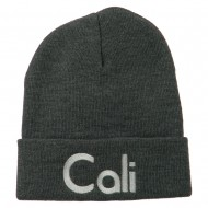 Cali Embroidered Long Beanie - Grey