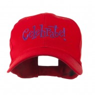 Celebrate Wording Embroidered Cap - Red