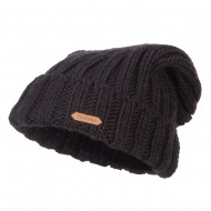 Deep Crown Cuff Long Beanie - Black